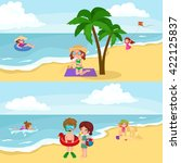 children summertime vacation... | Shutterstock .eps vector #422125837