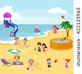children summertime vacation... | Shutterstock .eps vector #422125963
