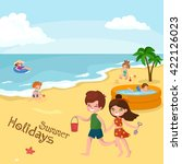 fun at summer beach. happy... | Shutterstock .eps vector #422126023