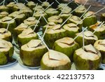 shot of coconuts and straws... | Shutterstock . vector #422137573