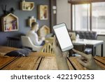 hand holding smart phone take a ... | Shutterstock . vector #422190253