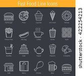 20 fast food line icons  vector ... | Shutterstock .eps vector #422254213