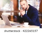 young businessman having lunch...   Shutterstock . vector #422265157
