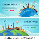 Travel composition with famous world landmarks. Travel and Tourism. Concept website template. Vector illustration. Modern flat design. | Shutterstock vector #422269657