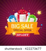 sale label background with gift ... | Shutterstock .eps vector #422273677