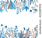 watercolor frame with leafs and ...   Shutterstock . vector #422289553