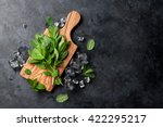 fresh garden mint and ice on... | Shutterstock . vector #422295217