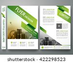 Flyers design template vector. Brochure report business magazine poster. Cover book minimal portfolio presentation and abstract green shape and city in A4 layout. | Shutterstock vector #422298523