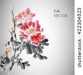 vector illustration.peony... | Shutterstock .eps vector #422304523