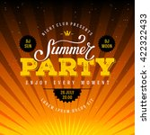 summer party lettering. flyer ... | Shutterstock .eps vector #422322433