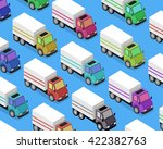 isometric delivery lorry car... | Shutterstock . vector #422382763
