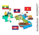 map and flag of laos  cambodia  ... | Shutterstock .eps vector #422394277
