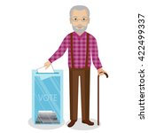 old man vote at transparent... | Shutterstock .eps vector #422499337
