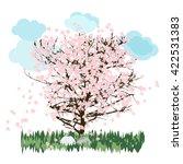 Sakura Tree On A Meadow With...