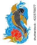 hand drawn koi fish tattoo | Shutterstock .eps vector #422570077