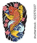 hand drawn koi fish tattoo | Shutterstock .eps vector #422570107