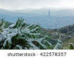 Small photo of Rare snowfall in Taipei City under the influence of a strong cold air mass on a hazy winter day with view of Taipei 101 Tower in XinYi District, Keelung River thru downtown & silhouette of mountains