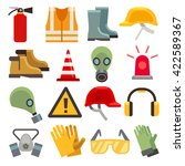 safety work flat vector icons... | Shutterstock .eps vector #422589367