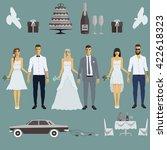 vector illustration wedding... | Shutterstock .eps vector #422618323