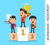 businessmen winner standing on... | Shutterstock .eps vector #422619637