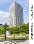 Small photo of Kazan, Russia - June 11, 2015: Acute angle building in business part of Kazan city