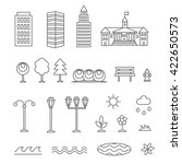 linear landscape elements icons ... | Shutterstock . vector #422650573