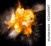 realistic fiery explosion over...