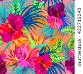 vector tropical flowers.... | Shutterstock .eps vector #422713243