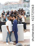 Small photo of Usher, Edgar Ramirez at the photocall for Hands Of Stone at the 69th Festival de Cannes. May 16, 2016 Cannes, France