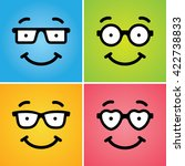 four cute funny smiling geek... | Shutterstock .eps vector #422738833