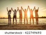 silhouette of group young... | Shutterstock . vector #422749693
