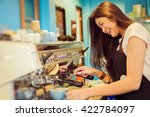 asian woman barista smiling and ...