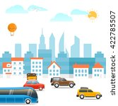 different vehicles on a road.... | Shutterstock .eps vector #422785507