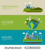 three horizontal ecology flat... | Shutterstock .eps vector #422806003