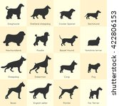 silhouettes of different dogs... | Shutterstock .eps vector #422806153