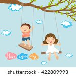 Boy And Girl Playing On Swing...