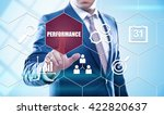 Small photo of business, technology, internet and virtual reality concept - businessman pressing performance button on virtual screens with hexagons and transparent honeycomb