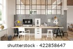 interior of a home office   3 d ... | Shutterstock . vector #422858647