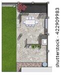 backyard master plan  3d render | Shutterstock . vector #422909983
