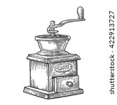 coffee mill. hand drawn sketch... | Shutterstock .eps vector #422913727