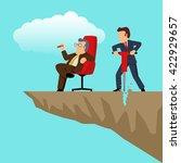 simple cartoon of a businessman ... | Shutterstock . vector #422929657
