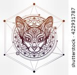 vintage ornate cat head with... | Shutterstock .eps vector #422931787