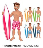 surfer boy  in different colors.... | Shutterstock .eps vector #422932423