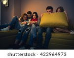 friends watching a scary movie... | Shutterstock . vector #422964973