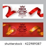 Ribbon cutting ceremony banners with abstract ribbons  and abstract hand with scissors | Shutterstock vector #422989387