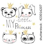 cute little princess cat ... | Shutterstock .eps vector #423016207