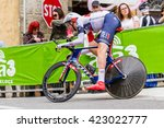 Small photo of Radda in Chianti, Italy - May 15th 2016: Professional cyclist on time trial bike go fast. aerodynamic position