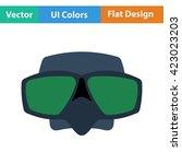 flat design icon of scuba mask  ...