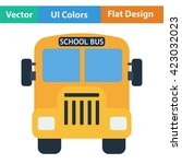 flat design icon of school bus...