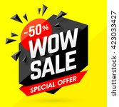 wow sale special offer banner.... | Shutterstock .eps vector #423033427